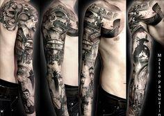 77 full sleeve tattoo