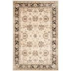 Vintage Ivory/Brown 6 ft. 7 in. x 9 ft. 2 in. Area Rug