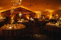Amber uplighting, pin spotting of the table centerpieces, and Italian string lighting for a wedding at the Holly Hedge Estate in New Hope, Pennsylvania. Photo by The More We See. Lighting by Synergetic Sound + Lighting. www.synergeticsounds.com