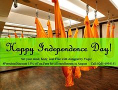 And here's an even more special greeting! Freedom Discount off on all enrollments this month, August So enjoy benefits of Antigravity yoga, and let's set ourselves Free. Breathing Techniques, Freedom, Mindfulness, Yoga, Let It Be, Liberty, Political Freedom