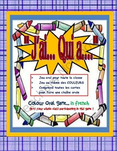 French Game on COLORS--Jai---Qui a...Fun for the WHOLE class!!!! from KidsLoveSchool! on TeachersNotebook.com -  (14 pages)  - Get your class talking French and learning/reinforce their colour vocabulary with this awesome and easy game that gets everyone involved...FUN and easy to use!  Great for FSL core and Immersion.