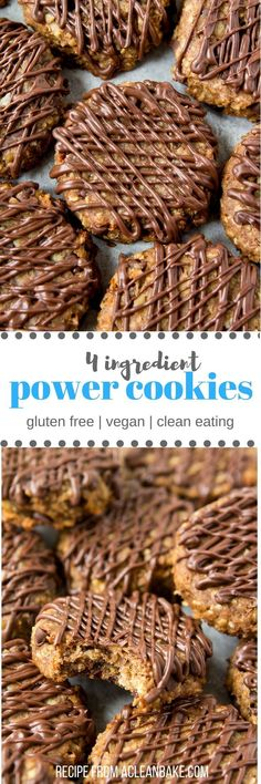 Clean eating - Dairy free - Egg free - Gluten free - Lactose free - Refined sugar free - Vegan - Four Ingredient Power Cookies will get you through the day! They're gluten free, vegan, egg free, dairy free and whole grain for lasting energy. Gluten Free Baking, Gluten Free Desserts, Dairy Free Recipes, Vegan Desserts, Vegan Recipes, Plated Desserts, Vegan Meals, Diet Recipes, Vegan Gluten Free Cookies