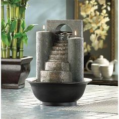 This is an awesome tabletop fountain that mixes the soothing sound of water with a little fire. Great home décor fountain! Visit http://www.indoorfountaindecor.com/index.html and get one.