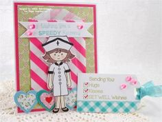 Created using the Abigail, Sorry You're Sick and Feel Better Soon stamp sets, Abigail Sweet Cuts die, Bubblegum Sequins and Robin Egg Seam Binding from www.papersweeties.com!  Designed by Debbie Marcinkiewicz.