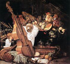 """Painting """"Vanitas Stilleven met muziekinstrumenten"""" by Cornelis de Heem - www.schilderijen.nu"""