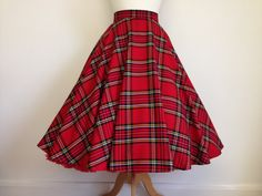 BooBoo Kitty Couture Full circle plaid skirt. Perfect for Autumn. Team it up with a cosy mustard sweater and berry coloured tights for the