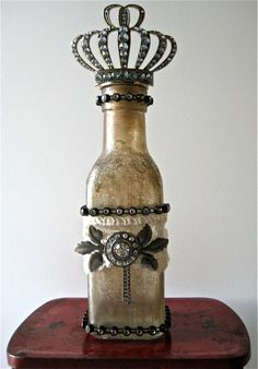 Studio art, fit for a queen. crackle glass with distress crackle paint Altered Bottles, Vintage Bottles, Bottles And Jars, Glass Bottles, Mason Jars, Perfume Bottles, Antique Bottles, Canning Jars, Vintage Perfume