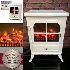 Cream Electric Stove Traditional Fire Flame Effect Fan Classic Heater Warm White