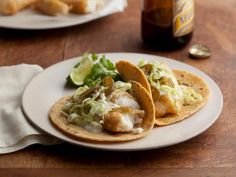 Baja Style Fish Tacos: Mexican beer makes the batter on the fish extra light and crispy, while a citrus-packed cream sauce cools everything down. Make the filling and prepare the toppings while everyone creates their own taco.