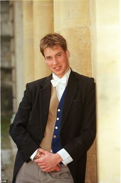 Eton boy: Prince William looked very smart in a waistcoat, posing at Eton College...