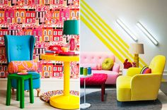 #Decor: #neon inspired decor, wallpaper and furniture