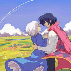 Howl and Sophie:ハウルの動く城 Howl's Moving Castle Hayao Miyazaki, Totoro, Studio Ghibli Art, Studio Ghibli Movies, Studio Art, Sophie Howl's Moving Castle, Film Animation Japonais, Howl And Sophie, Japon Illustration