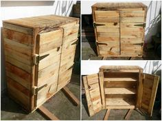 Homemade dresser made out of recycled wooden pallets. Homemade Shelves, Homemade Furniture, Pallet Vanity, Pallet Dresser, Pallet Furniture, 1001 Pallets, Wooden Pallets, Wooden Diy, Pallets