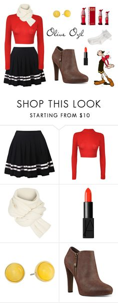 """Olive Oyl"" by explorer-14442013394 on Polyvore featuring мода, WearAll, Rosetta Getty, NARS Cosmetics, Kate Spade, Nine West, Olive, Monsoon, Halloween и girlstyle"