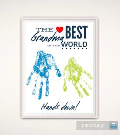 Mothers Day Gift for Grandma, Mothers Day Print from GrandKids, PRINTABLE Personalized Handprint Art, Grandma Gift, DIY DIGITAL, Gift Ideas by FromTheRookery on Etsy https://www.etsy.com/listing/511295809/mothers-day-gift-for-grandma-mothers-day