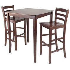 Winsome Wood Inglewood 3-Piece Square Pub Dining Set in Antique Walnut