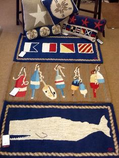New Nautical area rugs and pillows from Chandler 4 Corners!  www.colonyrug.com Whale rug!