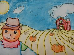 a faithful attempt: One Point Perspective Pumpkin Patch Landscape