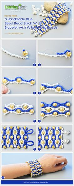 Detailed Tutorial on How to Make a Blue Seed Bead Stitch Wide Bracelet with Yellow Pearl Beads from LC.Pandahall.com