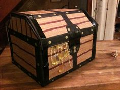 2nd Birthday!--DIY Cardboard Box Treasure Chest, hopefully Daddy can make this before leaves!
