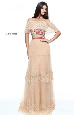 a1a6c96d5cbc Nude Multi Cap Sleeves Beaded Waistband Lace Applique Two Piece 2017 Sherri  Hill 51022 Long Tulle Prom Dresses
