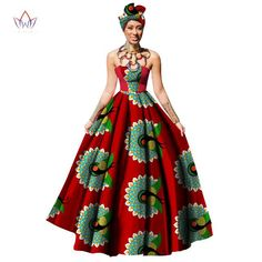 African Women Dress Dashiki Print Maxi Ball Gown Strapless Party with Headwrap by laviye - 2019 Dresses, Skirt, Shirts & African Dresses For Women, African Attire, African Fashion Dresses, African Women, African Outfits, African Beauty, African Fashion Designers, African Print Fashion, Africa Fashion