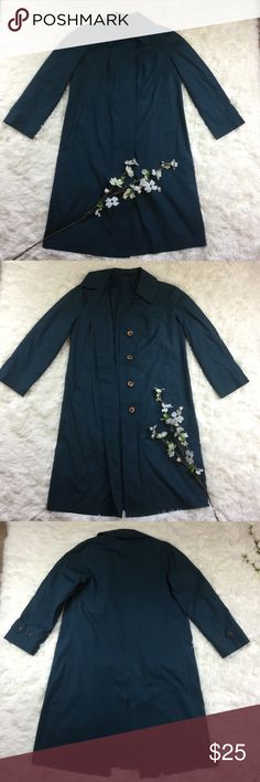 """Vintage London Fog Dark Teal Blue Trench Coat Unsure of official size. Tag States M14 chest measurement 20"""" and posted in pix. Dark teal blue color. Bundle to save instantly! London Fog Jackets & Coats Trench Coats"""