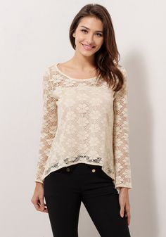 This apricot sheer lace top has floral lace detail and seductive cutout design at the back. | Lookbook Store