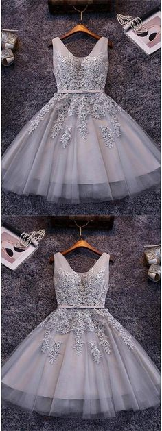 Homecoming Dresses 2018 #HomecomingDresses2018, Grey Homecoming Dresses #GreyHomecomingDresses, Grey Prom Dresses #GreyPromDresses, Short Prom Dresses #ShortPromDresses