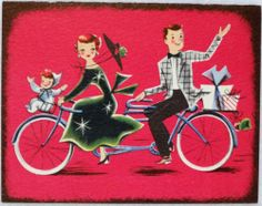 604 50s Mid Century Couple on A Tandem Bicycle Vintage Christmas Greeting Card | eBay