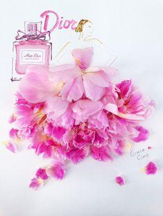 Miss Dior Blooming Bouquet -- Grace Ciao Illustration Moda Floral, Arte Floral, Grace Ciao, Arte Fashion, Floral Fashion, Ideias Fashion, Trendy Fashion, Flower Petals, Flower Art