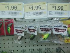 Luck E Strike Crappie Magic crankbaits... $1.96 @ Walmart.  Caught 2 bass and a pickerel on the one all way to left (black/white/red dashes) yesterday.