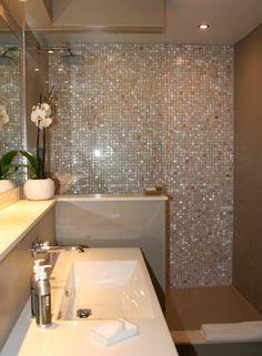 brown Bathroom Decor Luxury Mother of Pearl Mosaic - bathroomdecor Mosaic Shower Tile, Mosaic Bathroom, Mosaic Tiles, Bathroom Design Luxury, Modern Bathroom Design, Brown Bathroom Decor, Small Bathroom, Bathroom Renos, Bathroom Inspiration