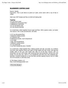 Blueberry Coffee Cake  www.thehappycooker.com