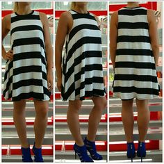 "💋HP💋🆕 Striped shift dress NWOT 💋Honored Host Pick!!💋 Brand new no tags  This ultra comfy shift dress, it is perfect to grab and go! So comfy and cute! Pair with a black floppy hat and heels for a chic look or pair with flats and crossbody purse for a casual look!  Material:47%rayon, 47%polyester 5%spandex (per tag) Length approx 32.5""  💗PRICE IS FIRM UNLESS BUNDLED 💗NO TRADES PLEASE Dresses Asymmetrical"