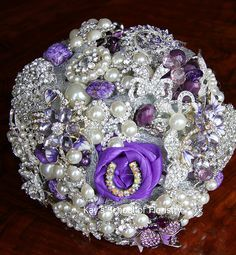 Purple Brooch Bouquet with added beads and pearls