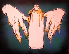 HANDS WITH CANS CANVAS STENCIL