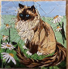 Mosaic studio specializing in custom pet portraits by Graycatmosaic Fused Glass Art, Mosaic Glass, Mosaic Tiles, Stained Glass Patterns, Stained Glass Designs, Mosaic Art Projects, Mosaic Portrait, Mosaic Animals, Grey Kitten