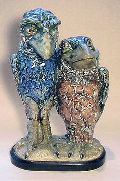 A rare and wonderful Martin Brothers double bird of two lovers. Pottery Studio, Pottery Art, Antique Pottery, Martin Brothers, Ceramic Art, Ceramic Birds, Ceramic Animals, Sea Creatures, Unique Art