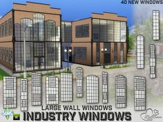 The Sims Resource: Industry Windows for Large Wall Size by BuffSumm • Sims 4 Downloads