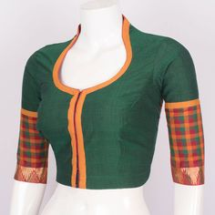 Buy online Hand Crafted Cotton Blouse With Zari Edging, Collar Neck & Lining 10017716 Size - 38