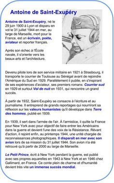 Antoine de Saint-Exupéry | À la française … Einstein, French Conversation, Famous French, French Class, Learn French, Writing Tips, Biography, Saints, Texts