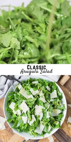 Arugula's peppery bite is enhanced by a simple lemon vinaigrette and mellowed with aged Parmesan cheese in this classic Italian arugula salad recipe. Arugula Salad Recipes, Side Salad Recipes, Vegetarian Salad Recipes, Healthy Recipes, Italian Side Salad Recipe, Easy Green Salad Recipes, Healthy Meal Prep, Healthy Eating, Clean Eating