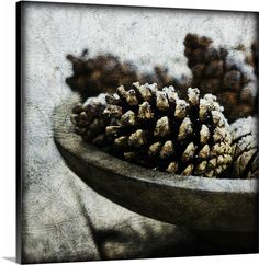Pine cones in weathered wooden bowl Wall Art from Canvas On Demand. Rustic Wooden Table, Wooden Tables, Dining Room Art, Brown Art, Winter Art, Wooden Bowls, Pine Cones, Art Decor, Canvas Art