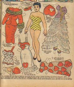 Bertha Fashions - by Bill Woggon -: Katy Keene newspaper comic paper doll - full-figured - pus sized - Bertha Bumbles Newspaper Paper, Paper Dolls Printable, Vintage Paper Dolls, Antique Dolls, Family Day Quotes, Animal Coloring Pages, Retro Toys, License Plate Art, Art Pages