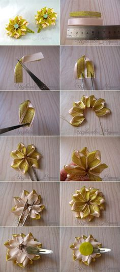 Wonderful Ribbon Embroidery Flowers by Hand Ideas. Enchanting Ribbon Embroidery Flowers by Hand Ideas. Kanzashi Tutorial, Ribbon Flower Tutorial, Ribbon Art, Diy Ribbon, Fabric Ribbon, Ribbon Crafts, Flower Crafts, Cloth Flowers, Satin Flowers