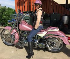 Jacquee loves to look glamorous on her pink crystallized 2006 Harley-Davidson Fat Boy. More than 45,000 individually hand set Swarovski crystals adorn the glowing beauty.