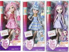 Ever After High Birthday Ball dolls C.A. Cupid, Blondie Lockes, and Duchess Swan dolls. Credit: Ever After High Dolls on Facebook