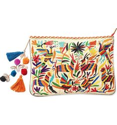 Scalloped trim, tiny poms and vibrant animal embroidery embellish this zip-top clutch with a swingy tassel zip pull and a spacious interior with plenty of pockets.
