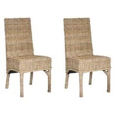 """Set of two mango wood and wicker side chairs. Showcases woven backs and seats and a natural finish.    Product: Set of 2 side chairsConstruction Material: Mango woodColor: NaturalDimensions: 33.5"""" H x 22.8"""" W x 18.5"""" D each"""